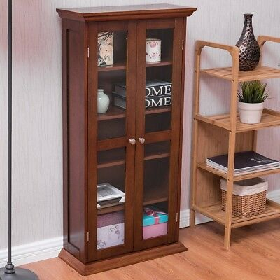 Book Room Wood Media Storage Cabinet Cd Shelves With Tower Glass