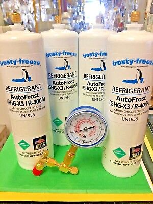 AutoFrost,R406a, Refrigerant, GHG-X3, R-406A, (4) 28 oz. Check & Charge It Gauge