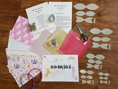 Large Hair bow making starter kit fabrics glitters clips templates Gift present
