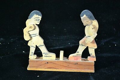 Guatemalan Folk Art Wooden Toy - Pair of Boxers Fighting. Collected ca. 1986
