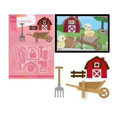 Farm Metal Die Cut Set Eline's Marianne Cutting Dies COL1427 Barn Wheelbarrow