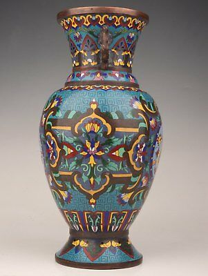 Old Hand-Made Decoration Antique Chinese Enamel Cloisonne Vase Only One