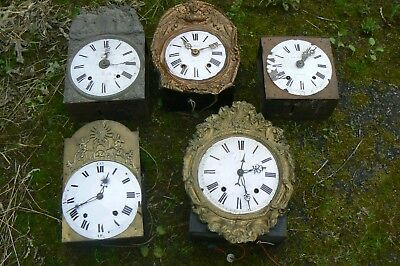 5 Antique French Comptoise Clocks For Restoration Spares Repair May Seperate
