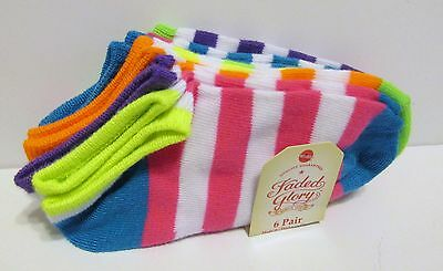 CUTE Girls No-Show Ankle Socks (6 pk) Small (Shoe Size 4-7.5) BRAND NEW W TAGS!!
