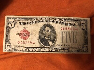 1928 C $5 Five Dollar Bill United States Note Red Seal #H456