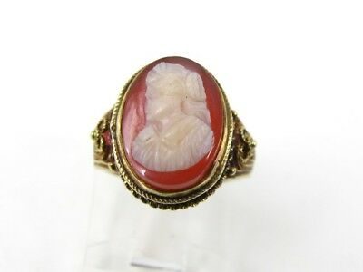 Vintage 14k Yellow Gold Filigree Natural Cameo Ladies Ring 2.8g