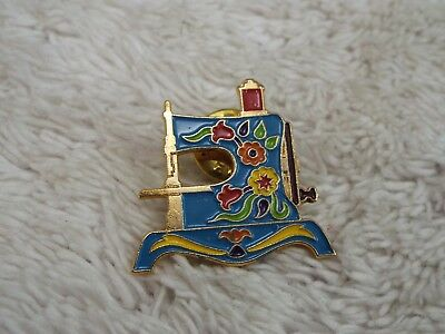 Vintage CLOTILDE Enamel 1940 Lindstrom Sewing Machine #6 Tac Pin (A26)