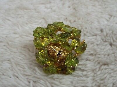 Goldtone Green Peridot Stone Myth Legend Green Man Face Pin (A43)