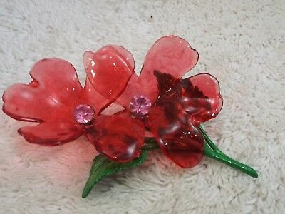 Vintage 1950's Large Red Translucent Hard Plastic Flower Pin (A43)