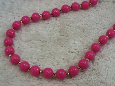 Goldtone Pink Bead Necklace (A43)