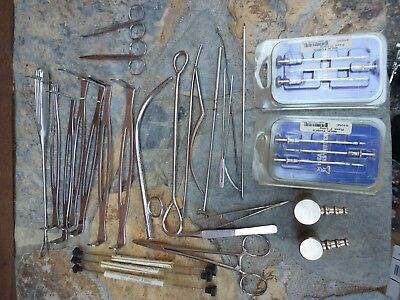 Stainless Steel Lot of Veterinary Surgical Tools Retractors Etc.