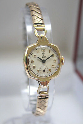TUDOR by ROLEX - SOLID GOLD LADIES ART DECO VINTAGE CUSHION WATCH - NO RESERVE!!