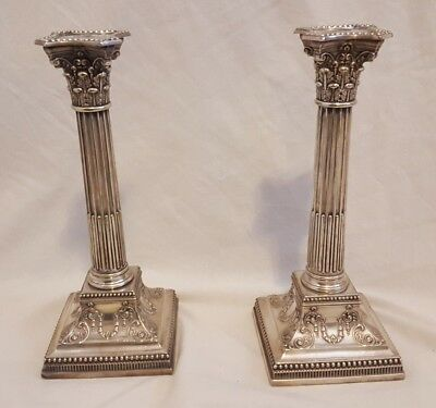 "JD&S James Dixon & Sons EP Pr 11"" Corinthian Style Silver Candle Sticks Holders"