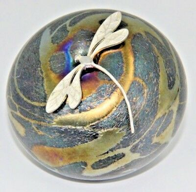 Neo Art Glass multi gold pebble paperweight sterling silver dragonfly K.Heaton