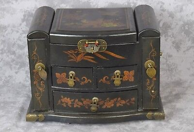 Vintage Chinese Wood Lacquer Jewelry Box w/ Mirror Floral & Bird Design