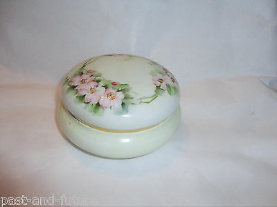 "Hand Painted Bavaria Powder Jar,  5"" By 2"",  Pale Green With Wild Roses."