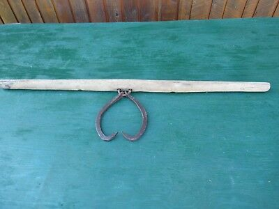 "VINTAGE 2 Man Log Tongs Iron Metal Logger Tool 46"" Wooden Handle Hook"