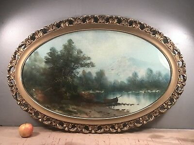 Antique Pastel Landscape Painting Beautiful Oval Ornate Gold Gilt Picture Frame