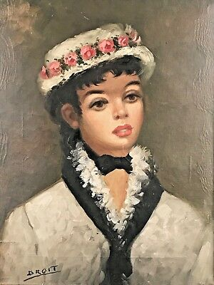 Antique Vintage Oil Painting on Canvas Portrait Of A Young Lady Signed DROIT