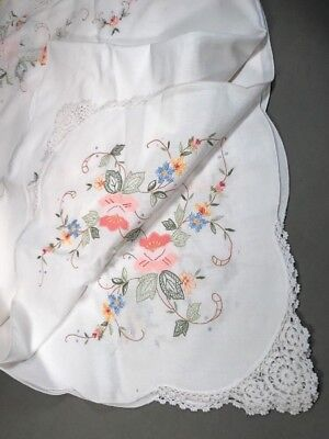 Vintage Hand Sewn Embroidered Cutwork Linen SPRING FLOWERS Floral Tablecloth