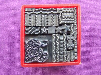 ADANA Printing Small Box LETTERPRESS TYPE ODDMENTS includes 48pt HADDON ornament