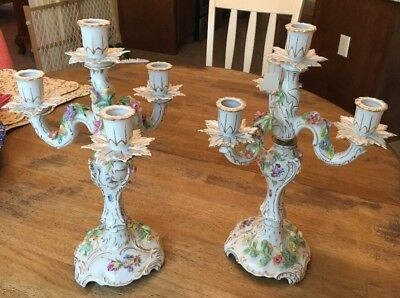 Dresden Pair 2 Candelabra Candle Holder