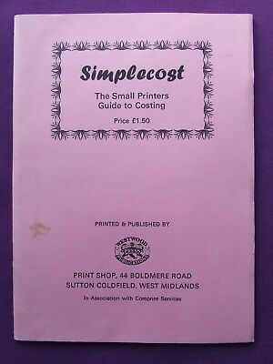 Adana Letterpress Printing SIMPLECOST The Small Printers Guide to Costing BPS