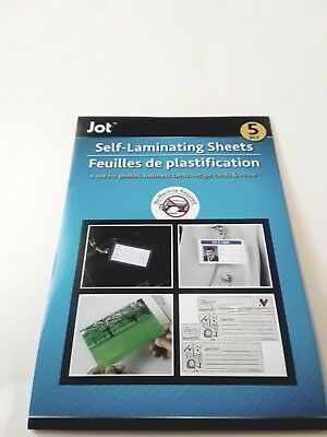 5 PACK, EASY SELF-LAMINATING SHEETS FOR ID,PHOTO ETC NO TOOLS NEEDED 4.5x6.5