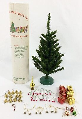 """Vtg Feather Christmas Tree w/ Mini Ornaments 12"""" Tall In Mailer Tube Taiwan RARE"""