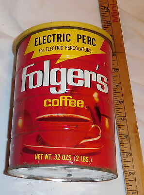vintage Floger's Electric Perc Coffee Tin Can with lid EMPTY 32 oz size