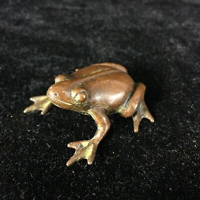 Antique Rare Chinese Old Copper Handwork Vivid Frog Prince Collectible Statue