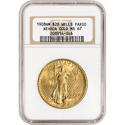 1908 US Gold $20 Saint-Gaudens Double Eagle - No Motto - NGC MS67 Wells Fargo