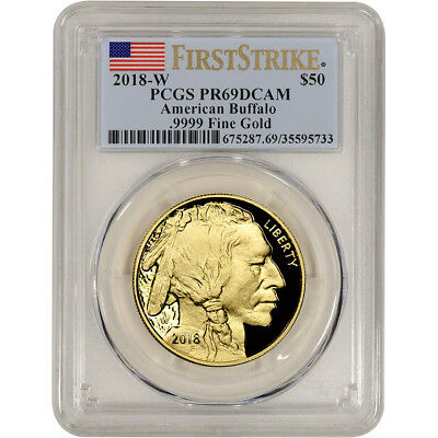 2018-W American Gold Buffalo Proof 1 oz $50 PCGS PR69 DCAM First Strike