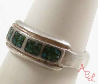 Sterling Silver 925 Navajo Cocktail Green Turquoise Ring Sz 7 (4.4g) - 739354