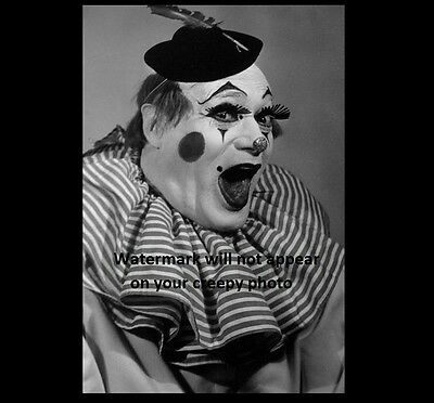 Scary Vintage Creepy Clown PHOTO Freak Weird Halloween Costume