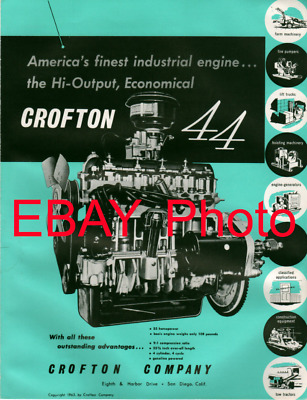 "Crofton ""44"" ""Bug"" Industrial Engine Original Advertising 1963 Crosley Aerojet"