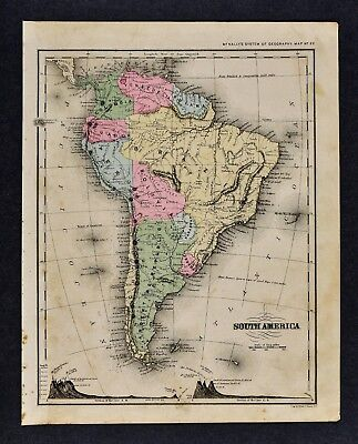 1882 Wells Map South America Brazil Argentina Bolivia Peru Colombia Amazon Chile