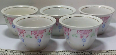 5 Vintage to Antique Chinese / Asian Tea Cups Marked Porcelain Pink Blue & Green