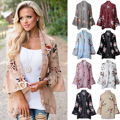 AU Boho Womens Bell Sleeve Lace Floral Kimono Cardigan Beach Casual Jacket Tops