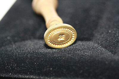 "Antique 1900's Victorian Wooden Wax Seal Vintage Wood Brass Stamp Initial ""R"""