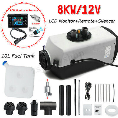 12V 8KW Air Diesel Heater LCD Monitor Remote Silencer For Truck Boat Car Trailer