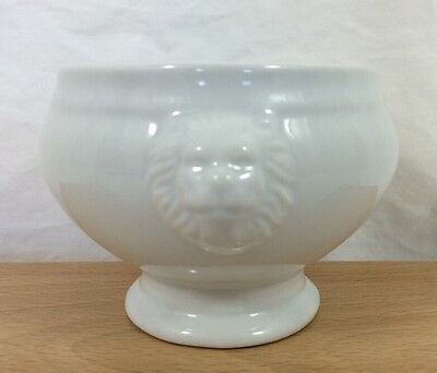 """HOLST Double Lions Head Soup Bowl 6"""" x 3 1/2"""" Footed White Porcelain Germany NEW"""