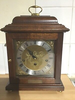 Comitti London Mahogany Basket Top 8 Day Chiming Carriage Clock