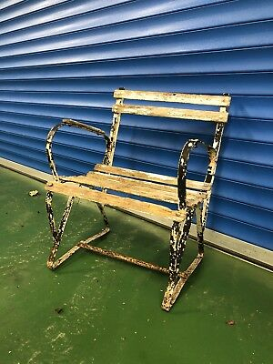 Vintage Antique Style Wooden Slatted Wrought Iron Frame Garden Bench Seat