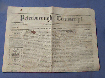 Vintage Sept 10 1864 Peterboro Nh Newspaper Civil War Gen Sherman Takes Atlanta