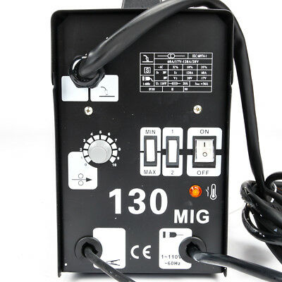 New MIG 130 Welder Gas Less Flux Core Wire Automatic Feed Welding Machine Black