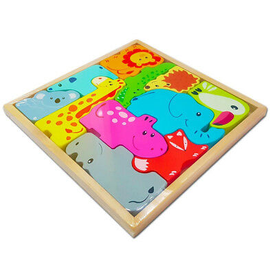 Wooden Animal Jigsaw Puzzle Toys Learning Preschool Gift Children Kid Zoo Baby
