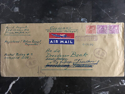 1940 Bronx NY USA Airmail Oversize Cover via Portugal to Dresden Bank Germany