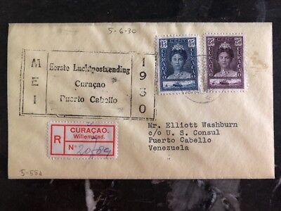 1930 Curacao First Flight airmail cover FFC to US Consul Port Cabello Venezuela