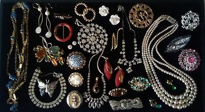 Job Lot Antique Vintage Jewellery   Brooches Necklaces Earrings 3-Row Pearls...